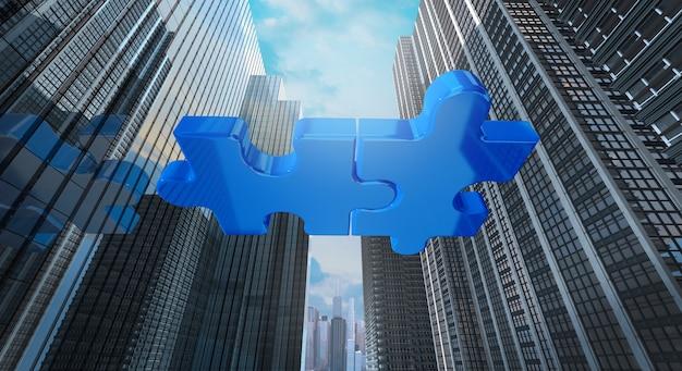 合併と買収のビジネスコンセプト、会社の3 dレンダリングに参加
