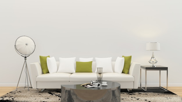 リビングルームのインテリア3 dレンダリングソファーテーブル木製の床木製の壁テンプレート