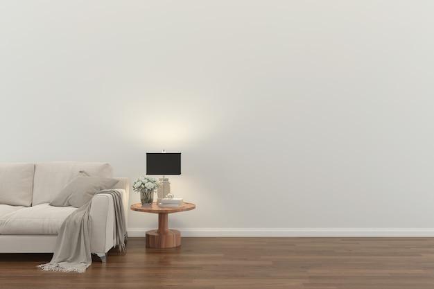 リビングルームインテリア3 dレンダリングソファグレーテーブルランプ木製の床木製壁デザインテクスチャ