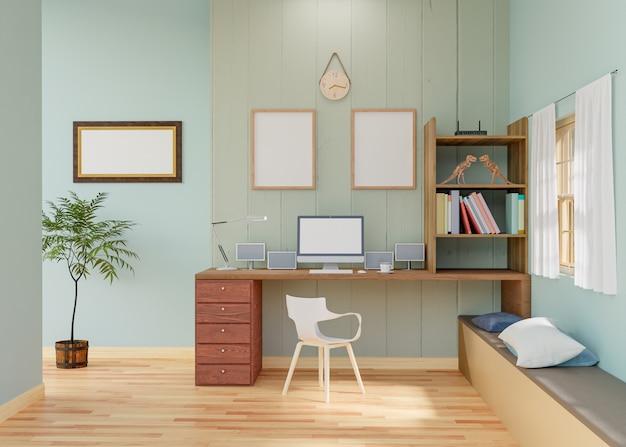 作業室の3 dレンダリングでフレームポスターのモックアップを作成します。