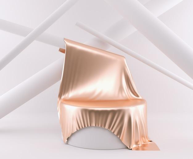 表彰台で最小限の3 dレンダリングシーン。黄金色の幾何学的形状。