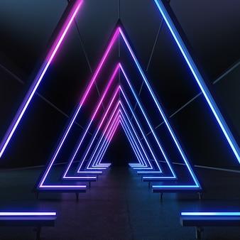 製品の表示のための最小限のデザインで輝く光のラインと抽象的な3 dレンダリングの背景。