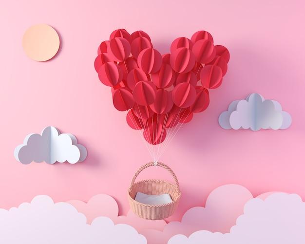 空のバスケット、ディスプレイデザイン、3 dレンダリングのためのバレンタインの折り紙ペーパーアートで飛んでハート形の赤い風船。