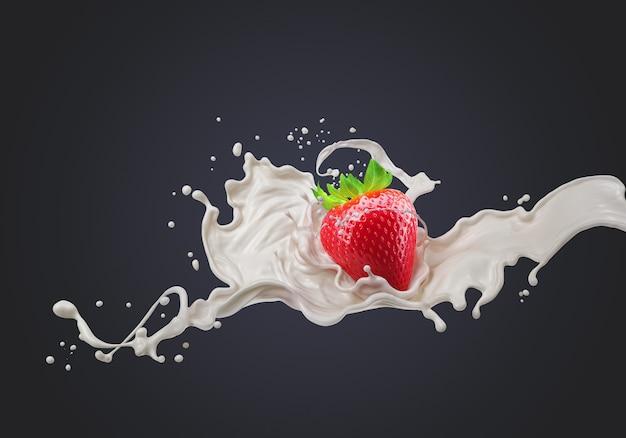 イチゴとミルクまたはフルーツヨーグルトのスプラッシュクリーム、クリッピングパス、3 dレンダリングが含まれています