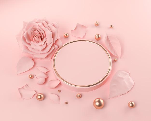 バラの花、ピンクの幾何学的形状の表彰台の背景、3 dレンダリングで抽象的なシーン。