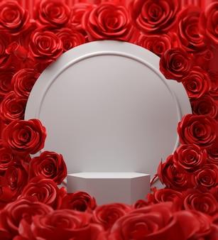 白い表彰台ステージディスプレイ、3 dレンダリングの幾何学的なシーンと新鮮なバラの赤い花の背景の花束。