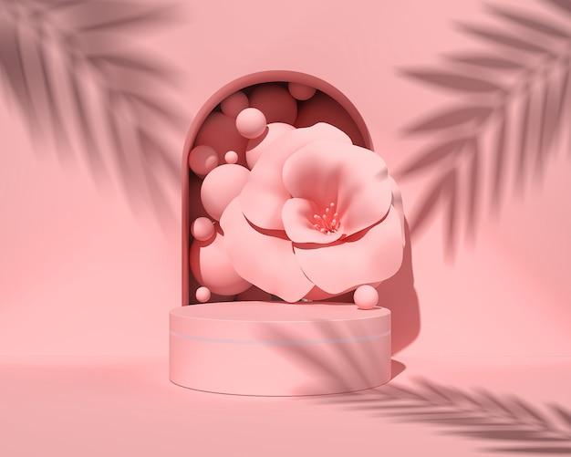 抽象的なパステルカラーのシーン、ピンクの幾何学的形状の表彰台、3 dレンダリング。