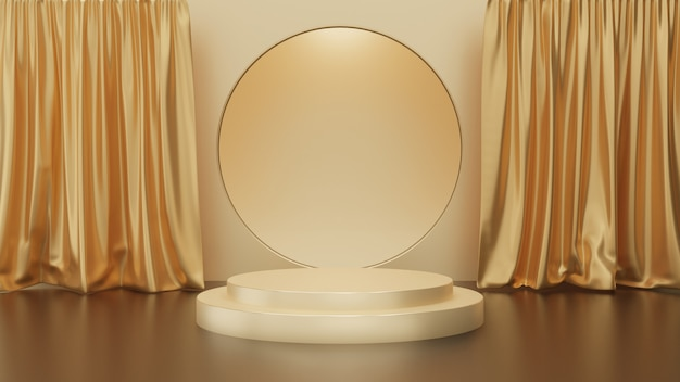 ゴールドの背景、ゴールデンサークルステージ、抽象的な最小限のコンセプト、空白、シンプルなすっきりとしたデザイン、豪華なミニマリストのモックアップにカーテンが付いている金の台座のステップの3 dレンダリング