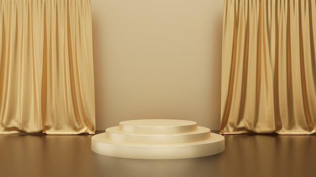 金背景、ゴールデンサークルステージ、抽象的な最小限のコンセプト、シンプルなすっきりとしたデザイン、豪華なミニマリストのモックアップにカーテンが付いている金表彰台台座の3 dレンダリング