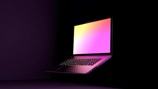 紫色のラップトップ3 dイラスト。暗い背景、色ピンクパープルライトディスプレイと黒デスクラップトップコンピューター。