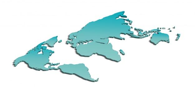 白の3 dの世界地図