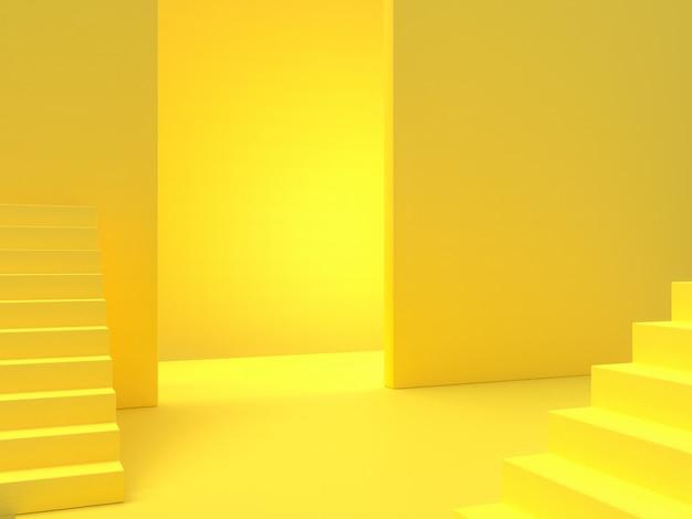 最小限のアイデアコンセプト。黄色の階段の背景、3 dレンダリング。