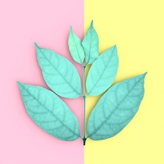 緑の葉とコピースペース、ピンクと黄色の背景、上面図。コンセプトパステルカラー、3 dレンダリング。