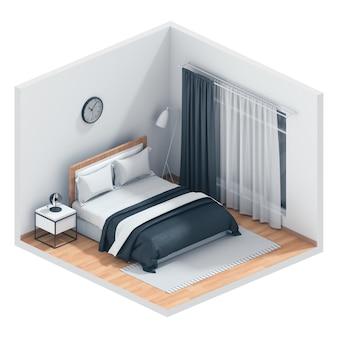 インテリアモダンなベッドルームの3 dレンダリング。