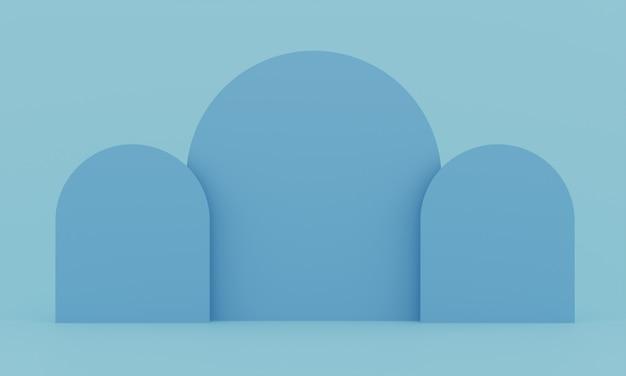 ディスプレイ用のパステルブルーの台座。幾何学的形状の空の製品スタンド。 3 dのレンダリング。