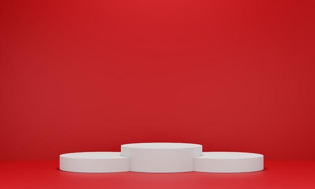 ディスプレイ用の白い台座。幾何学的形状の空の製品スタンド。 3 dのレンダリング。