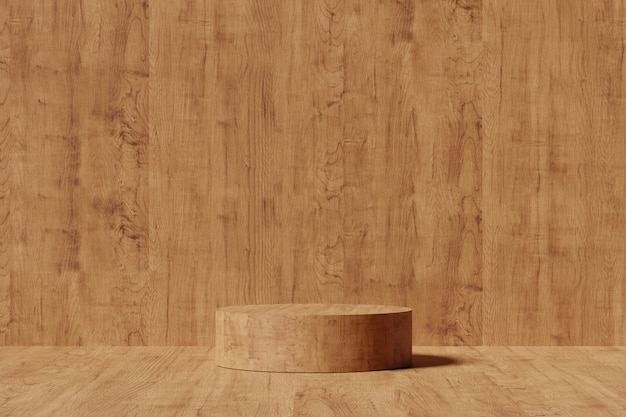 ディスプレイ用の木製台座。幾何学的形状の空の製品スタンド。 3 dのレンダリング。