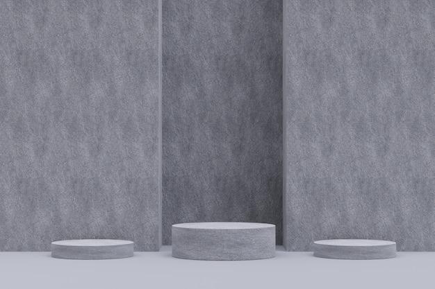 ディスプレイ用のコンクリート台座。幾何学的形状の空の製品スタンド。 3 dのレンダリング。