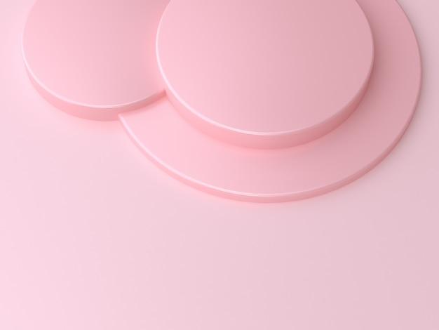 ピンクの円形の表彰台の3 dレンダリング