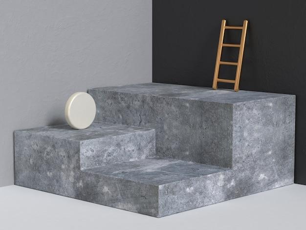コンクリート表彰台3 dレンダリング抽象的な幾何学的な黒灰色のコーナーの壁