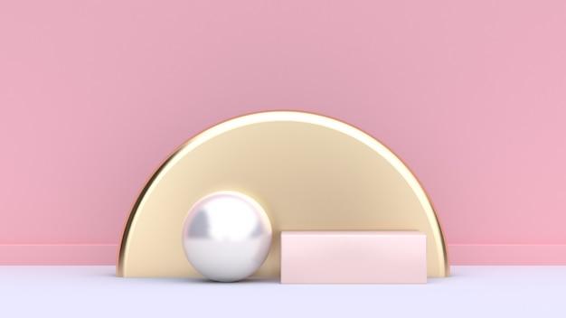 幾何学的形状フォーム白い球金半円、丸い柔らかいピンクの正方形白い床ピンク背景壁抽象的な最小限の背景シーン3 dレンダリング