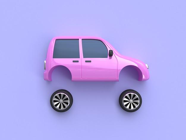 ピンクの車と車輪の抽象的な3 dレンダリング