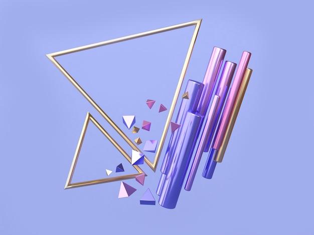 ピンクブルー、パープルゴールドの幾何学的形状フローティング三角形フレーム3 dレンダリング