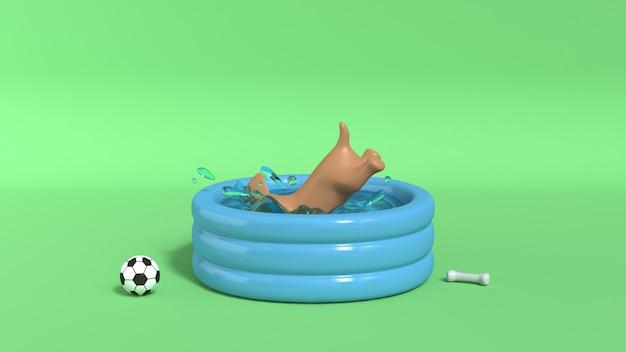 プールの緑の背景3 dのレンダリングに飛び込む茶色の犬