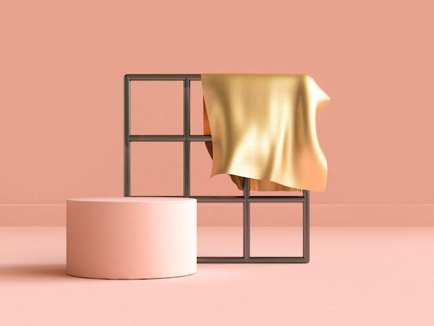 金色の生地の幾何学的形状のオレンジシーン3 dレンダリング