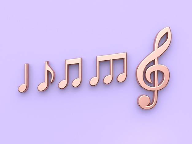 最小限の紫紫色の背景金属銅音楽ノート3 dレンダリング