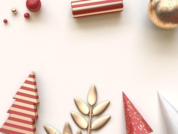 赤い金の抽象的な形の幾何学的なクリスマスフラットレイアウト3 dレンダリング