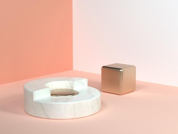 ピンク/オレンジ/クリームミニマルシーン壁コーナー抽象的な幾何学的形状白い大理石サークルゴールドキューブ3 dレンダリング