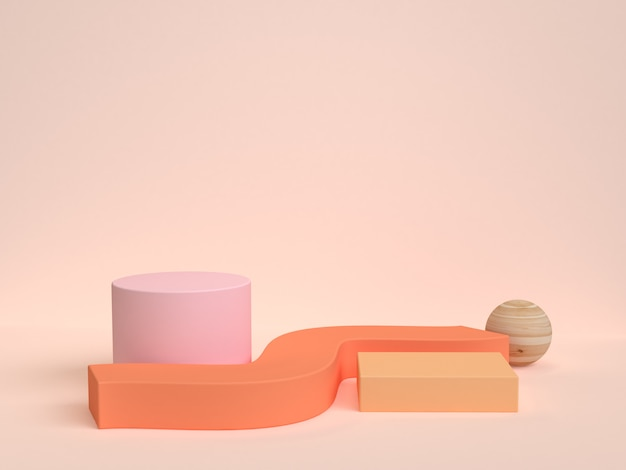 3 dレンダリングオレンジシーン抽象的な幾何学的形状