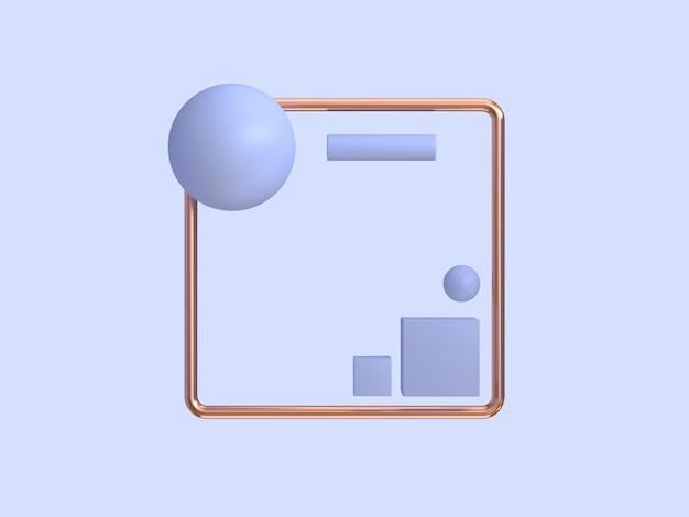 3 dレンダリングの最小限の抽象的な紫紫銅フレームの幾何学的形状