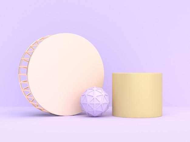 最小限のソフトパープルバイオレット抽象的な幾何学的形状3 dレンダリング