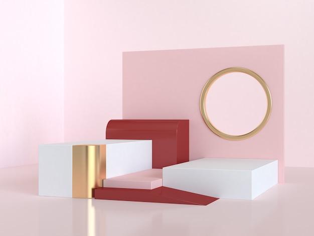 抽象的なピンク赤手順表彰台3 dレンダリングシーン