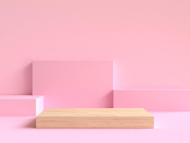 床の上の最小限の抽象的な幾何学的なシーン3 dレンダリングの木材