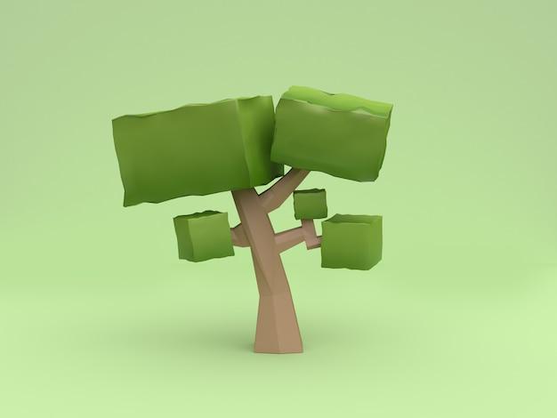 抽象的な緑の木低ポリ漫画スタイル3 dレンダリング