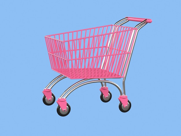 ピンクのショッピングカートビジネスストアコンセプト3 dレンダリング