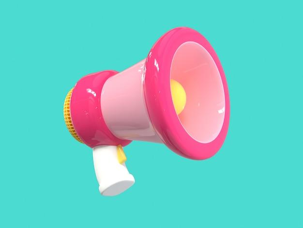 ピンクのメガホン拡声器漫画スタイルの緑の背景3 dのレンダリング