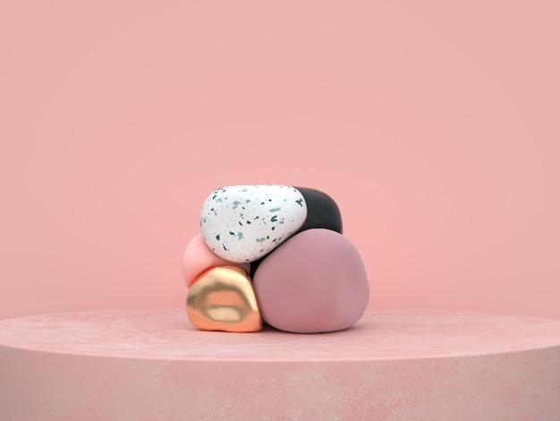 抽象的なピンクの背景有機形状表彰台セット3 dレンダリング