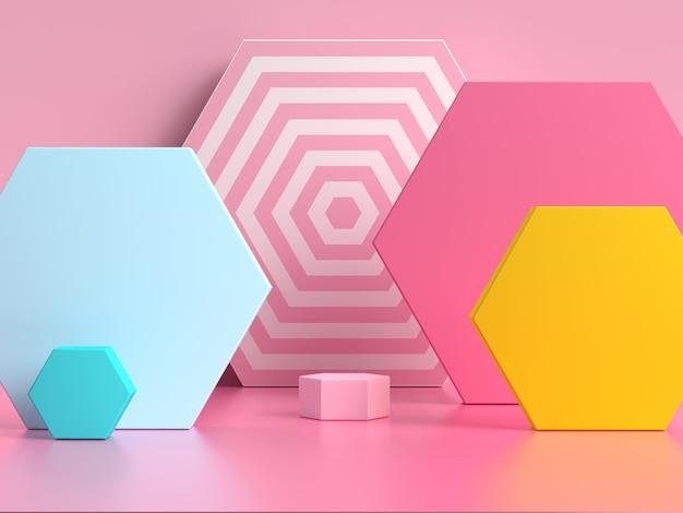 ピンクブルーイエローの幾何学的形状パターンカラフルな3 dレンダリングシーン