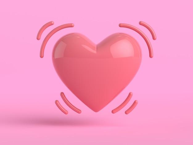 3 dレンダリングハート形ピンクの背景