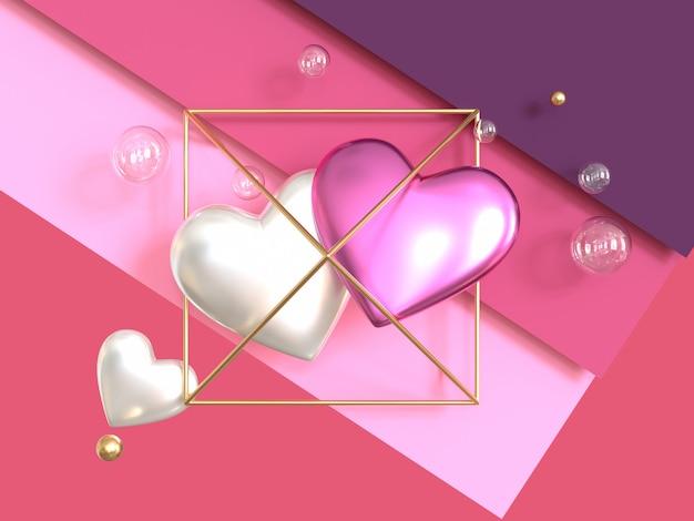ピンク紫シーンハートシンボル金属光沢のある3 dレンダリングバレンタインコンセプト