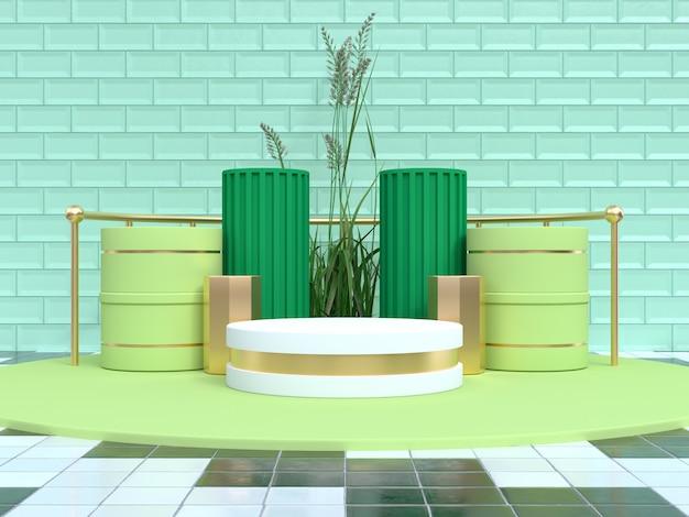 緑のシーンの幾何学的形状は、表彰台の3 dレンダリングを設定