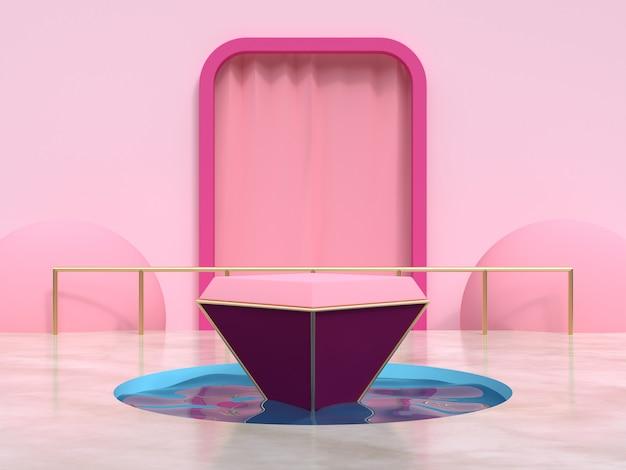 ピンクフレームカーテン幾何学的シーン水池表彰台セット3 dレンダリング