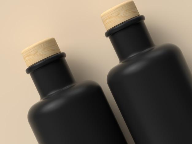 黒の空/空のボトル3 dレンダリング包装容器コンセプト