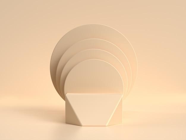 幾何学的形状は、空白の表彰台棚クリーム/ソフトイエローシーン3 dレンダリングを設定