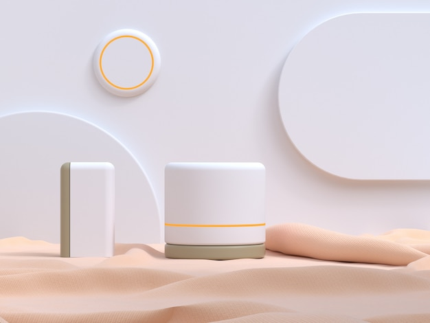 白い壁の幾何学的なモダンなスタイルのクリーム生地空白の表彰台3 dレンダリング
