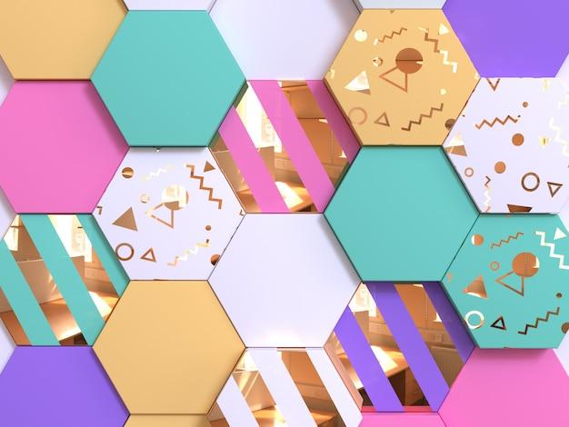 抽象的なカラフルな幾何学的形状の壁紙パターン3 dレンダリング